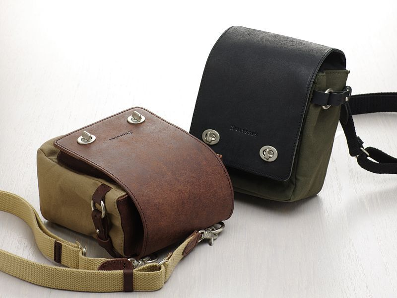 Photo1: Leather & Canvas Camera Case [Borsetta] (1)